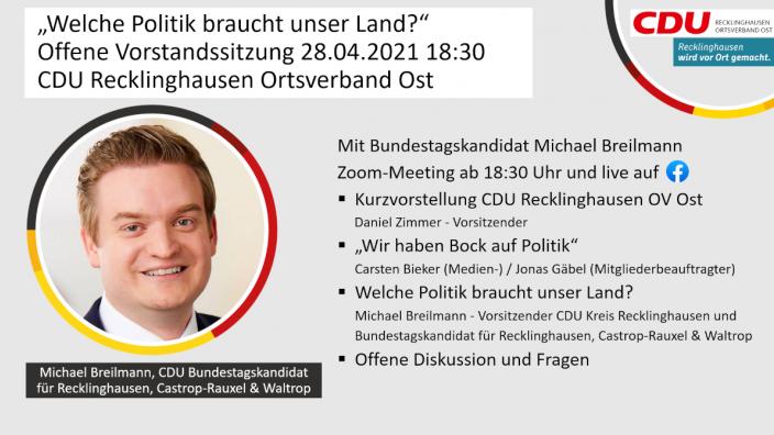 Offene Vorstandssitzung am 28.04.21 mit Michael Breilmann