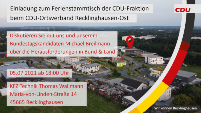 Einladung zum CDU-Fraktions- und Ferienstammtisch